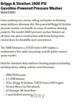 Briggs & Stratton 21017 2800 PSI Pressure Washer 2800 MAX PSI / 2.1 MAX GPM
