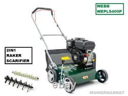Webb 40cm (16) 2 in 1 Petrol Lawn Scarifier & Raker  Briggs and Stratton Engin